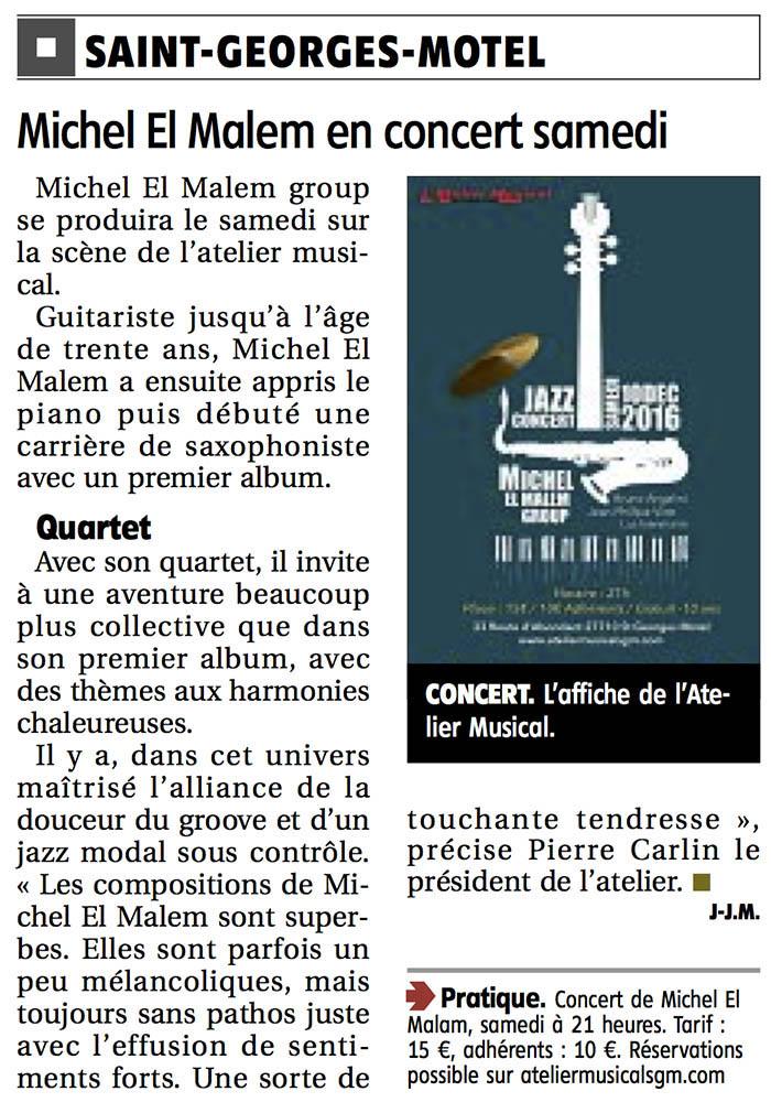 Concert Michel El Malem Echo républicain