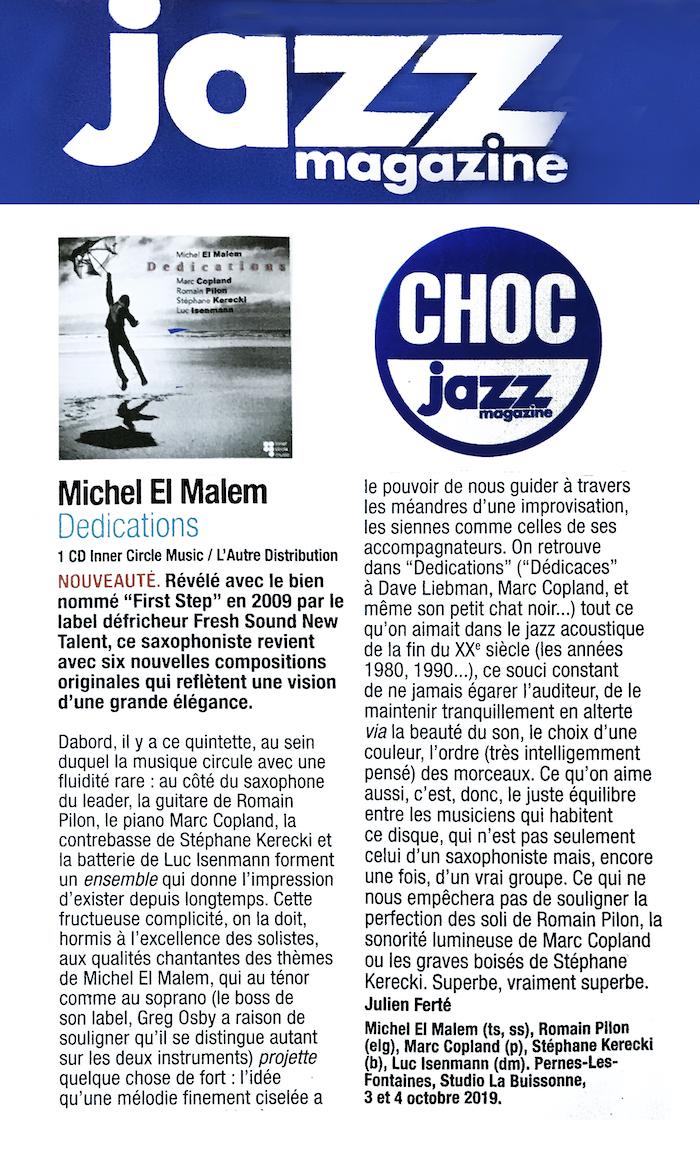Critique Dedications Jazz Magazine